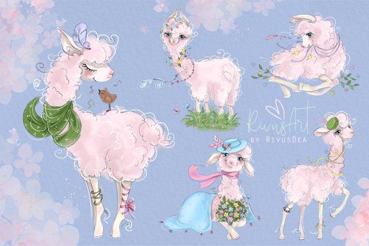 Llama PNG Clipart. Spring Alpaca graphics, printable art.