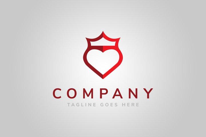 Crown Shield Heart Logo Template