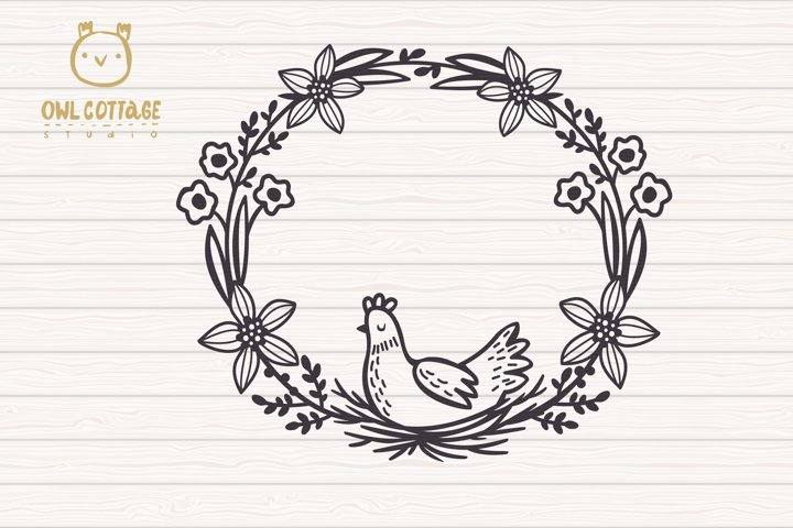 Easter Wreath with Hen svg, Easter Floral Monogram, Easter example 2