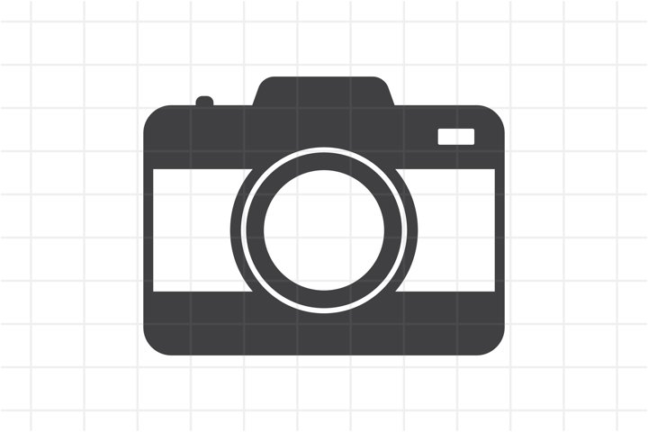 Photo camera icon SVG cut file. Formats SVG, AI, EPS, PNG.