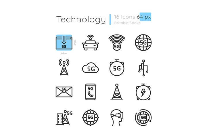 5G wireless technology linear icons set