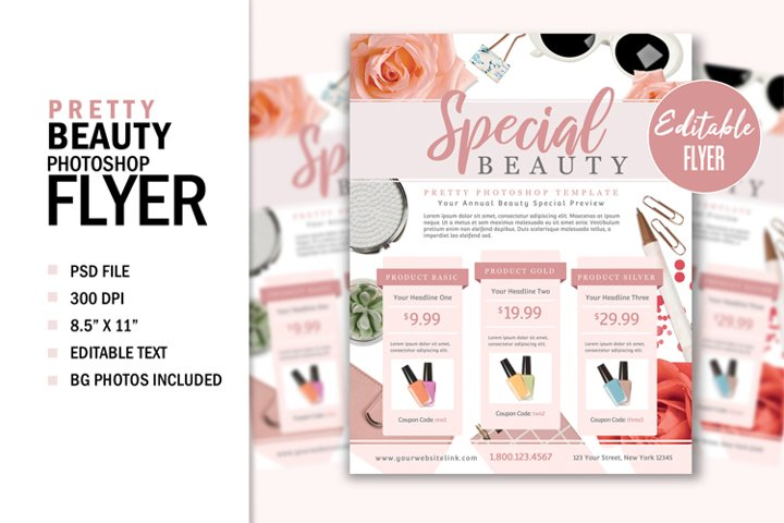 Pretty Beauty Fashion Print Flyer Template Graphic Design