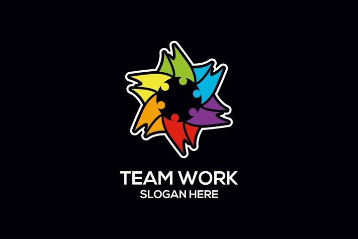 Colorful people team logo design Design vector