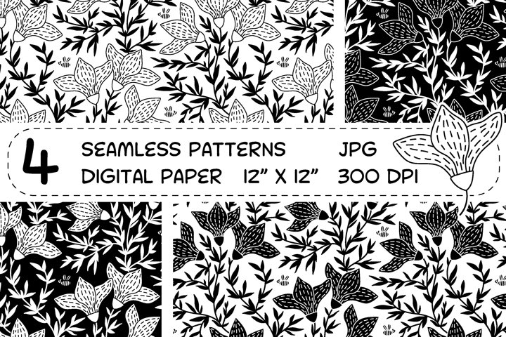 Monochrome flowers - seamless digital paper