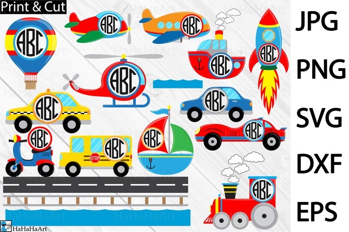 Circle Fun Transportation - Clip art / Cutting Files 408c