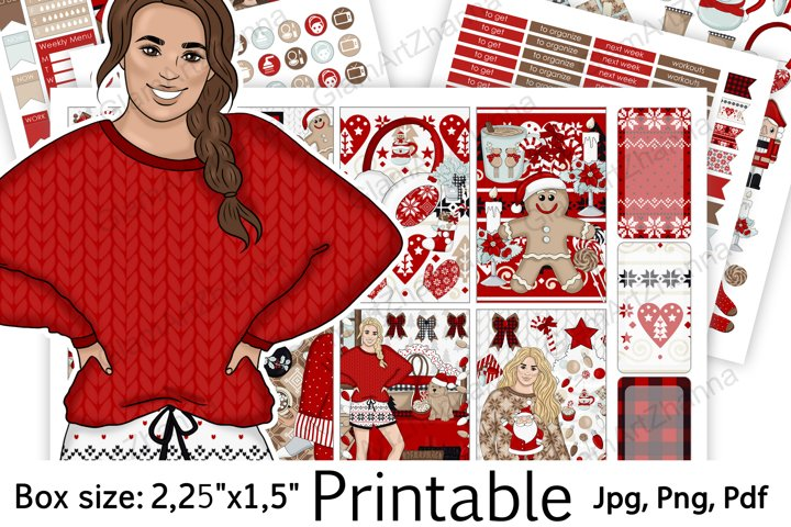 Merry Christmas Holiday Printable Sticker BoxSize 2,25x1,5