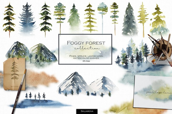 Foggy forest collection. Watercolor tress & landscapes.