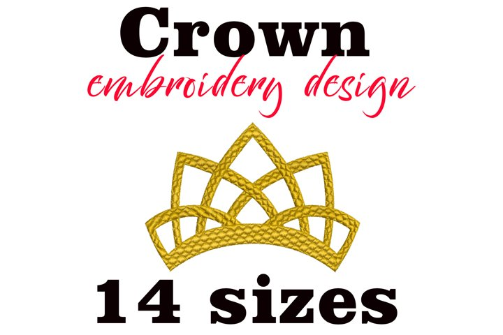 Crown Machine embroidery design. Tiara Princess Embroidery