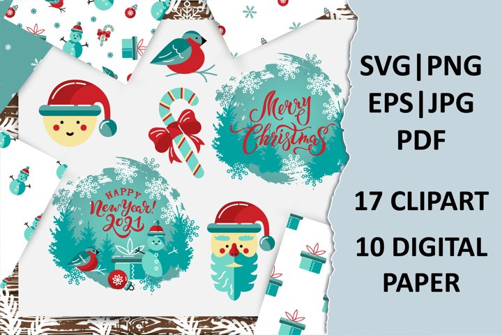 Merry Christmas, New Year pack with clipart, digital papers