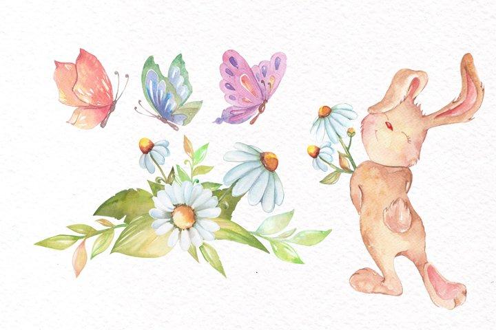 Watercolor Bunny Clipart example 3