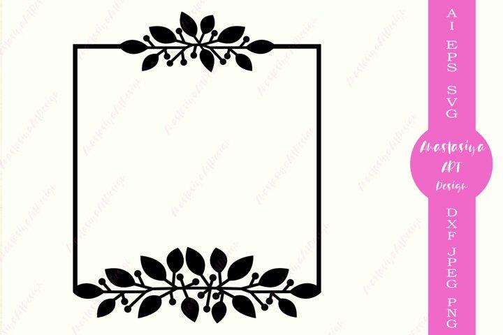 Leaves square border, Monogram frame dxf, Flower border svg
