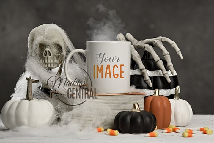 Halloween Spooky Coffee Mug Glass Cup Mockup on Table, JPG