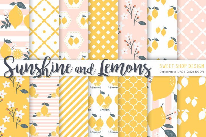 Digital Paper SUNSHINE AND LEMONS, 12x12, Set of 14 Papers
