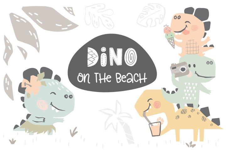 Dinosaurs on the beach. Kids vector
