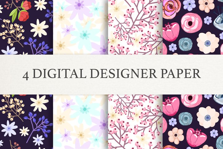 Floral Digital Paper - Scrapbook Papers - Seamless Patterns