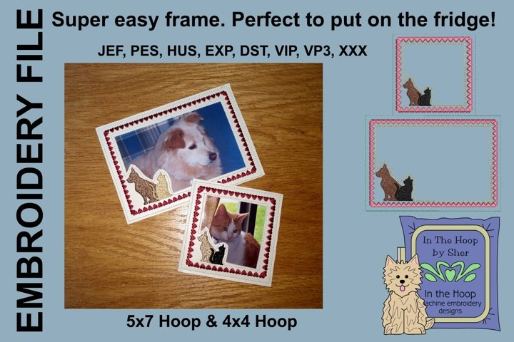 Dog and Cat Silhouette Picture Frames - 4 x 4 and 5 x 7 Hoop