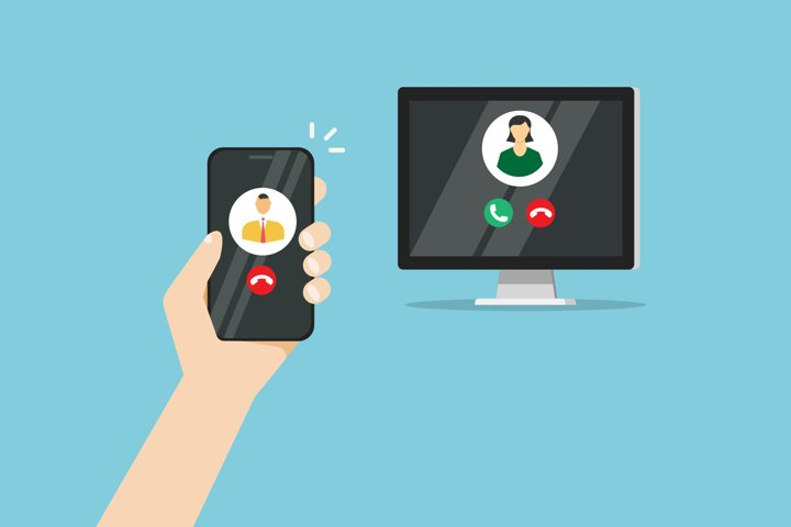 Illustration of a video call on a blue background telephone