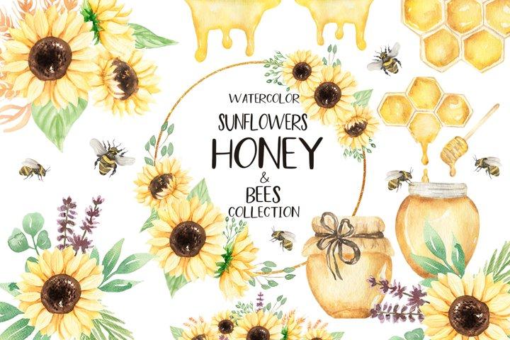 Watercolor Sunflowers, Honey & Bees