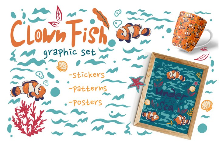 Collection of graphics with fishes clowns