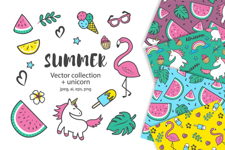 Summer collection. Set of summer icons and seamless pattern