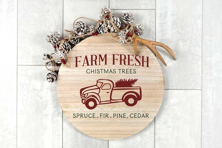 Christmas svg | Truck Farm Fresh Christmas Tree sign design