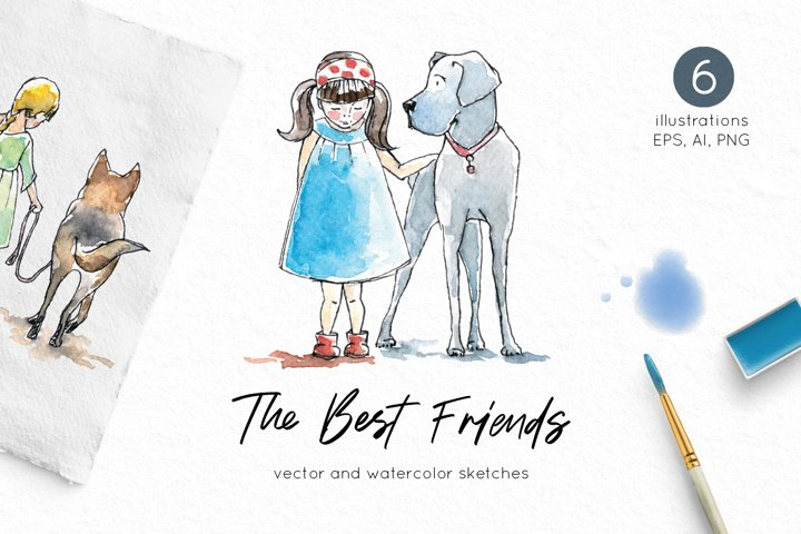 Watercolor Girls and Dogs clip art