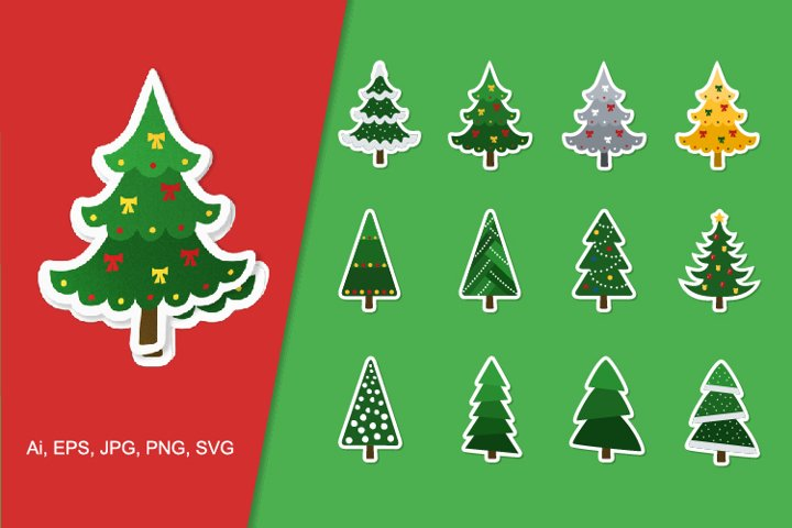 Vector stickers Christmas trees with festive decor