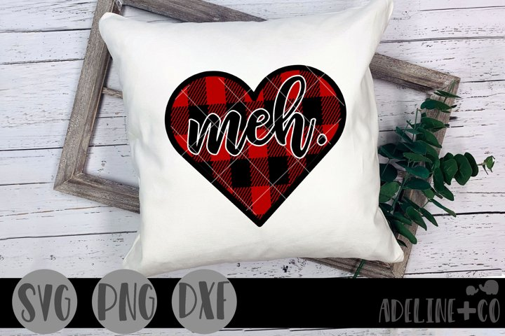 Meh heart SVG PNG DXF, Valentines Day