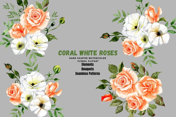 Coral Rose watercolor Clipart, White Roses Printable