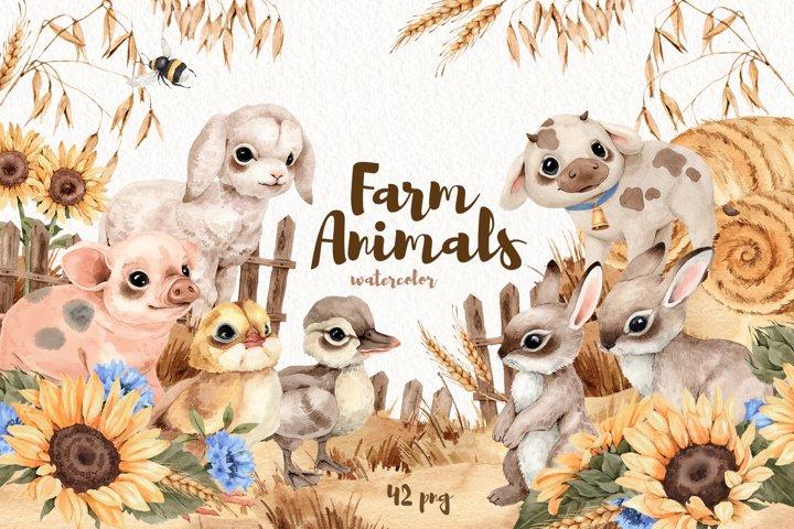 Watercolor Farm Cute Little Animals set