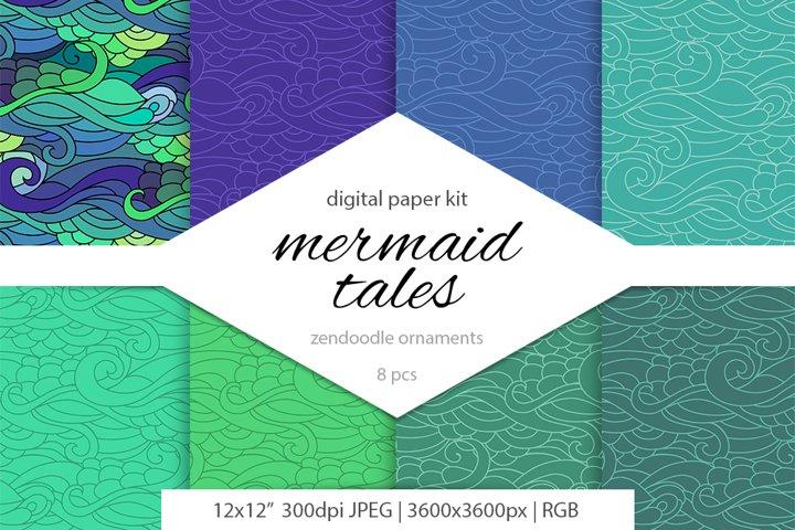 Mermaids & Ocean isnpired zen doodle scrapbooking paper