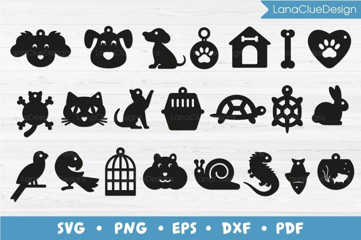 22 Pet Tags SVG Bundle, Animal Tags, Gift Shaped Hang Tags