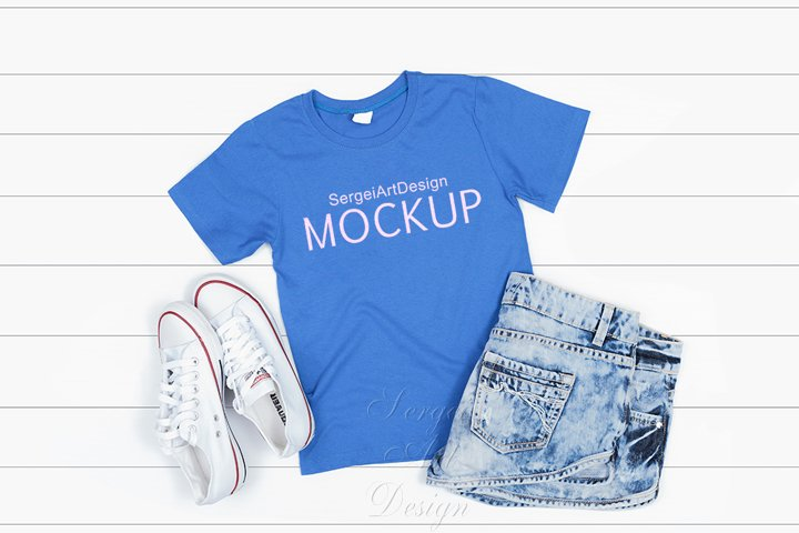 Light Blue Kids T-shirt Mockup, Stock Photography