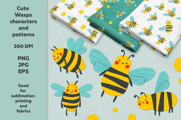 Cute wasps characters and bonus - 3 patterns!