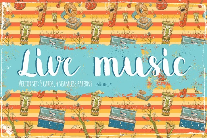 Vector set with musical instruments