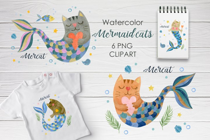 Watercolor mermaid cats clipart, designs for t-shirts