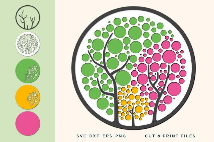 Wall art 3D, Tree SVG, File for Cricut, Laser, Layered