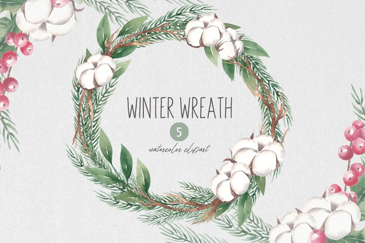 Winter Wreath Clipart, Watercolor Ctristmas Greenery