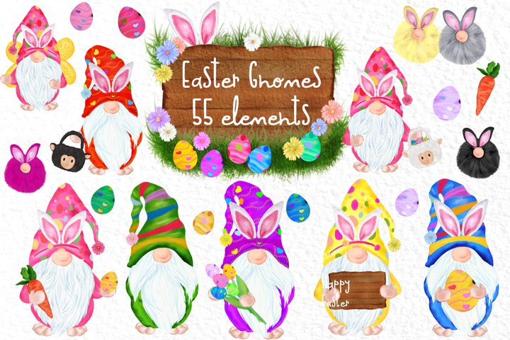 Easter Bunny Gnomes Gnomes clipart Spring Gnome Easter eggs