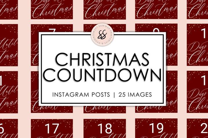 Christmas Countdown Maroon & Gold Instagram Posts