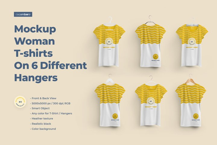 2 Mockups Woman T-shirts On 6 Different Hangers