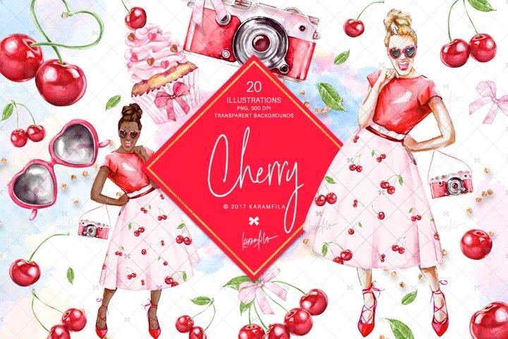 Cherry Clipart, Summer Fruit Cherries Sublimation Graphics