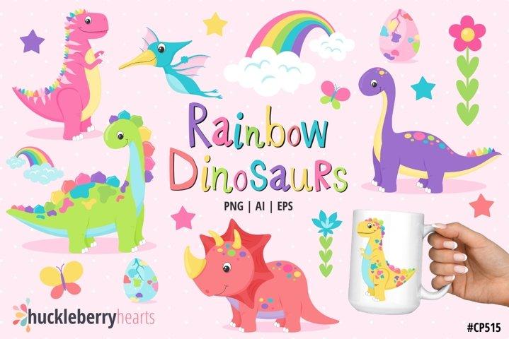 Rainbow Dinosaur Clipart