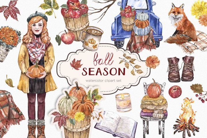 Fall Clipart Watercolor Pumpkin Autumn Thanksgiving Leaves