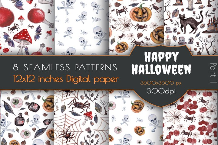 Watercolor Happy Halloween seamless patterns. Candy Pumpkins