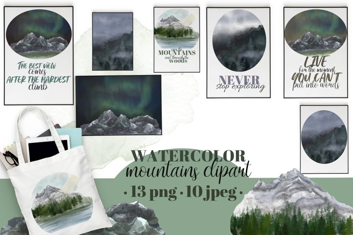 Mountains clipart&landscapes set. Aurora borelias.Watercolor