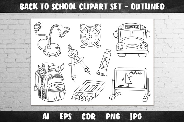 Back to School Clipart Set - Outlined