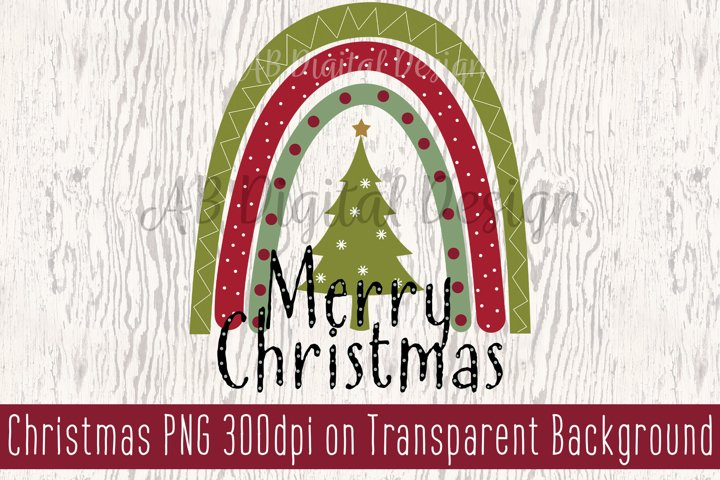 Merry Christmas Sublimation Clipart, PNG, Christmas Tree