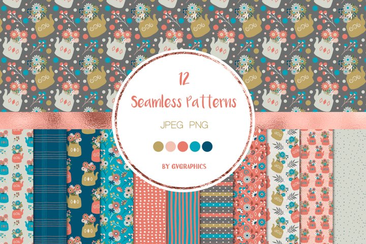 12 Flowers, Berries and Teapots Seamless Patterns