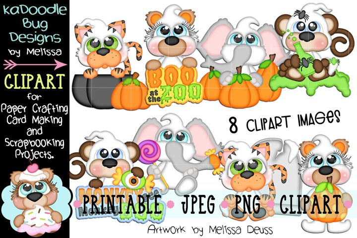 Boo at the Zoo Animals Clipart - 8 JPEG PNG Print Then Cut